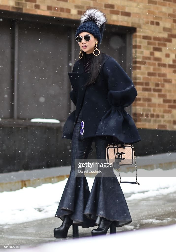 A guest is seen wearing a blue Chanel outfit outside of the Brock Collection show during New York Fashion Week: Women's Fall/Winter 2017 on February 9, 2017 in New York City.