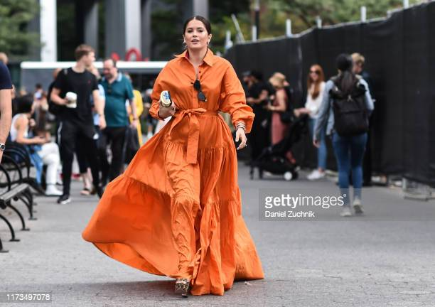 Guest is seen wearing a Carolina Herrera dress outside the Carolina Herrera show during New York Fashion Week S/S20 on September 09, 2019 in New York...
