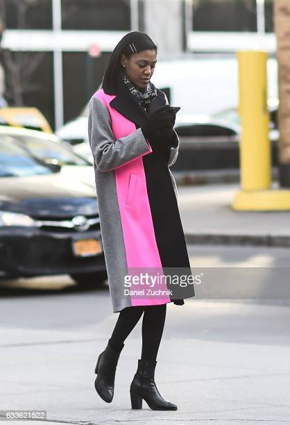 A guest is seen wearing a color blocked coat outside of the General Idea show during New York Fashion Week Men's AW17 on February 2 2017 in New York...