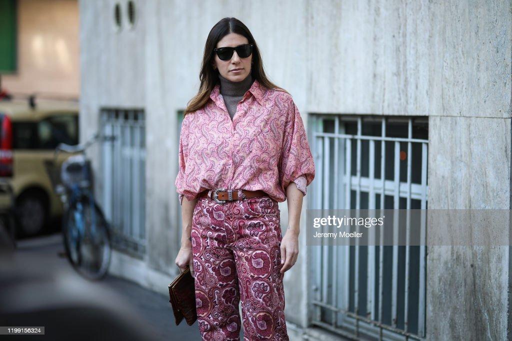 Street Style: January 12th - Milan Fashion Week Fall/Winter 2020/2021 : Photo d'actualité