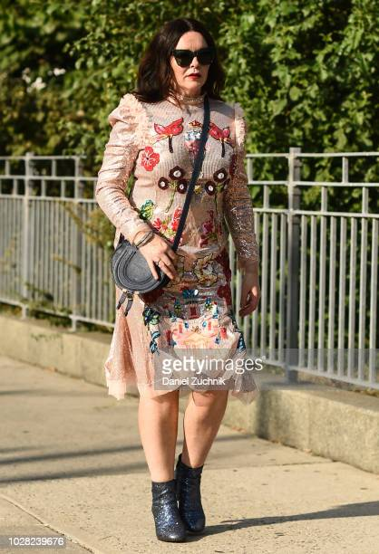 A guest is seen wearing a Di$count Universe dress outside the Di$count Universe show during New York Fashion Week Women's S/S 2019 on September 6...
