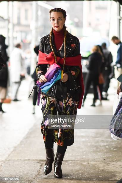A guest is seen wearing a floral dress outside the Christian Cowan show during New York Fashion Week Women's A/W 2018 on February 10 2018 in New York...