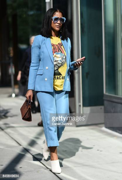 A guest is seen wearing a light blue suit outside the 31 Phillip Lim show show during New York Fashion Week Women's S/S 2018 on September 11 2017 in...