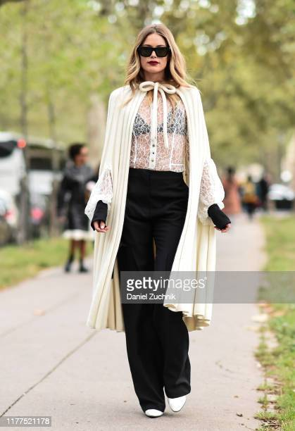 Guest is seen wearing a Loewe outfit outside the Loewe show during Paris Fashion Week SS20 on September 27, 2019 in Paris, France.