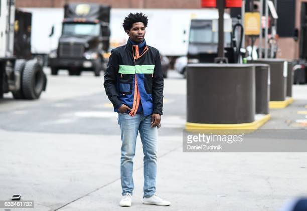 A guest is seen wearing a Nautica jacket outside of the Nautica show during New York Fashion Week Men's AW17 on February 1 2017 in New York City