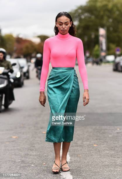A guest is seen wearing a pastel color outfit outside the Chloe show during Paris Fashion Week SS20 on September 26 2019 in Paris France