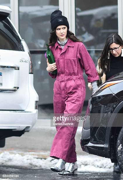 A guest is seen wearing a pink jumpsuit outside of the Tadashi Shoji show during New York Fashion Week Women's Fall/Winter 2017 on February 9 2017 in...