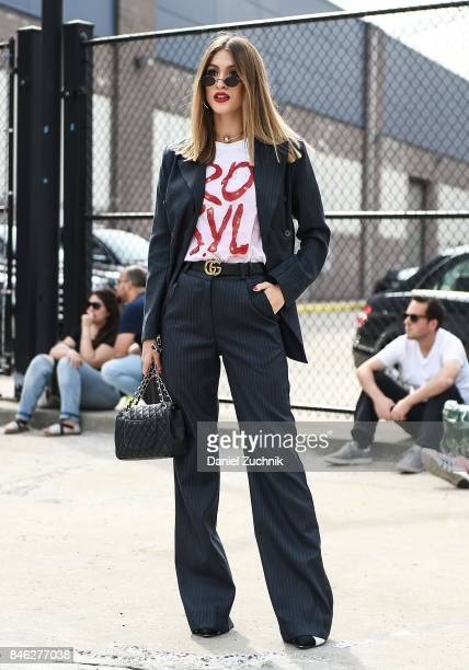 A guest is seen wearing a suit outside the Coach show during New York Fashion Week Women's S/S 2018 on September 12 2017 in New York City