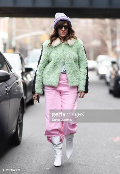 A guest is seen wearing a Tibi outfit outside the Tibi show during New York Fashion Week Fall/Winter 2019 on February 10 2019 in New York City