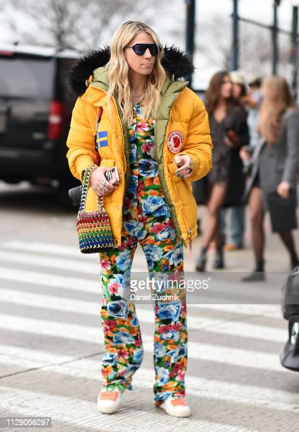 Guest is seen wearing a Zadig and Voltaire outfit and Acne Studios coat outside the Zadig and Voltaire show during New York Fashion Week: Fall/Winter...