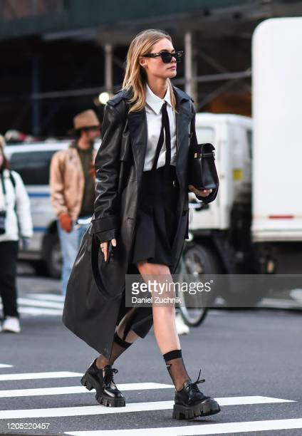 Guest is seen wearing a Zadig & Voltaire black coat outside the Zadig & Voltaire show during New York Fashion Week: A/W20 on February 09, 2020 in New...