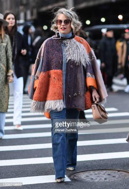 Guest is seen wearing a Zadig & Voltaire coat outside the Zadig & Voltaire show during New York Fashion Week: A/W20 on February 09, 2020 in New York...