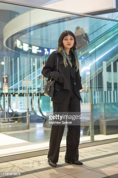 A guest is seen wearing allblack during the Amazon Fashion Week TOKYO 2019 A/W on March 23 2019 in Tokyo Japan