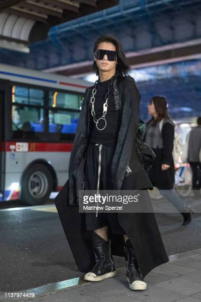 A guest is seen wearing allblack outfit with silver chain necklace during the Amazon Fashion Week TOKYO 2019 A/W on March 23 2019 in Tokyo Japan