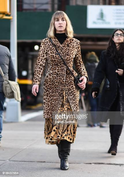 A guest is seen wearing an animal print coat outside the Esteban Cortazar show during New York Fashion Week Women's A/W 2018 on February 14 2018 in...