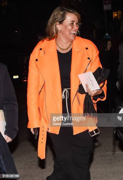 A guest is seen wearing an orange leather jacket outside the Marc Jacobs show during New York Fashion Week Women's A/W 2018 on February 14 2018 in...
