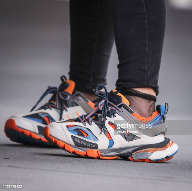 Guest is seen wearing Balenciaga Track Trainers during New York Fashion Week on September 07, 2019 in New York City.