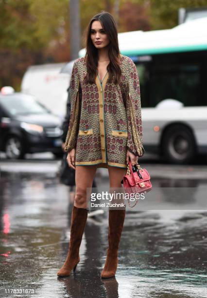 Guest is seen wearing Chanel outside the Chanel show during Paris Fashion Week SS20 on October 1, 2019 in Paris, France.