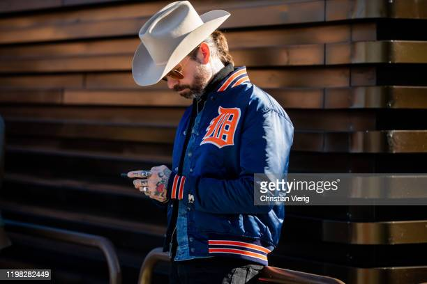 A guest is seen wearing cowboy hat during Pitti Uomo 97 at Fortezza Da Basso on January 08 2020 in Florence Italy