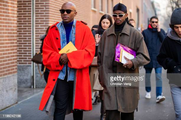 Guest is seen wearing denim jacket, red coat and a guest wearing bandana, brown coat outside Fendi during Milan Fashion Week Fall/Winter 2020/2021 on...