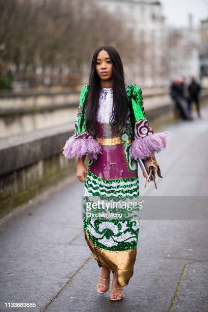 Guest is seen wearing dress outside Valentino during Paris Fashion Week Womenswear Fall/Winter 2019/2020 on March 03, 2019 in Paris, France.