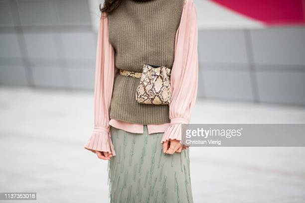Guest is seen wearing fanny bag with snake print at the Hera Seoul Fashion Week 2019 F/W at Dongdaemun Design Plaza at Dongdaemun Design Plaza on...