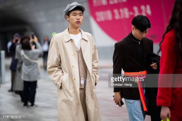 A guest is seen wearing flat cap at the Hera Seoul Fashion Week 2019 F/W at Dongdaemun Design Plaza at Dongdaemun Design Plaza on March 23 2019 in...
