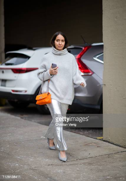A guest is seen wearing grey turtleneck silver pants outside Zadig Voltaire during New York Fashion Week Autumn Winter 2019 on February 11 2019 in...