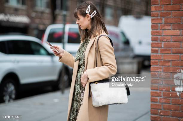 A guest is seen wearing hair clip outside Collina Strada during New York Fashion Week Autumn Winter 2019 on February 07 2019 in New York City