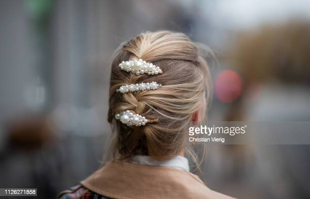 A guest is seen wearing hair clip outside Oh by Kopenhagen Fur during the Copenhagen Fashion Week Autumn/Winter 2019 Day 2 on January 30 2019 in...