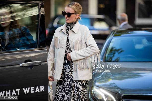 A guest is seen wearing jacket with fringes outside Roberta Einer during London Fashion Week September 2019 on September 13 2019 in London England