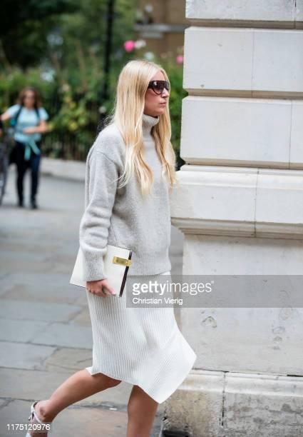 Guest is seen wearing knit outside Erdem during London Fashion Week September 2019 on September 16, 2019 in London, England.