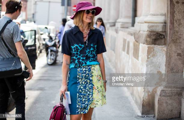 Guest is seen wearing mulit colored skirt with print and button shirt outside M1992 during the Milan Men's Fashion Week Spring/Summer 2020 on June...