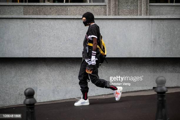 A guest is seen wearing Nike sneaker during MercedesBenz Tbilisi Fashion Week on November 2 2018 in Tbilisi Georgia