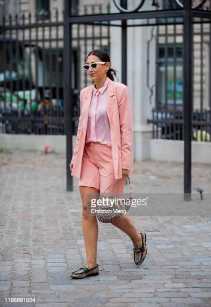 Guest is seen wearing pastel, Dior bag outside Designers Remix during Copenhagen Fashion Week Spring/Summer 2020 on August 08, 2019 in Copenhagen,...