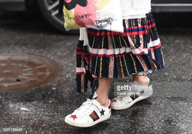 A guest is seen wearing Phillip Lim sneakers outside the 31 Phillip Lim show during New York Fashion Week Women's S/S 2019 on September 10 2018 in...