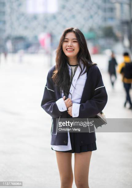 A guest is seen wearing pleated mini skirt at the Hera Seoul Fashion Week 2019 F/W at Dongdaemun Design Plaza at Dongdaemun Design Plaza on March 23...