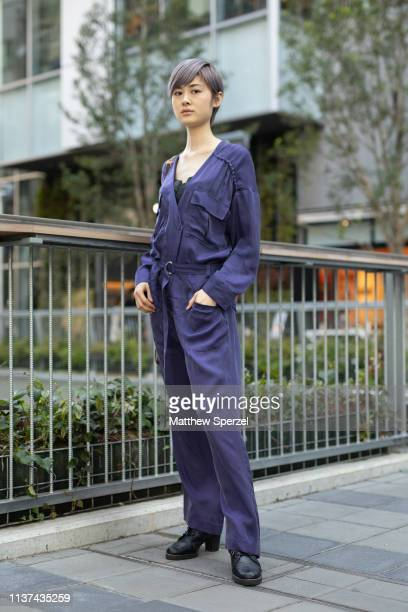 Guest is seen wearing purple jumpsuit during the Amazon Fashion Week TOKYO 2019 A/W on March 21, 2019 in Tokyo, Japan.