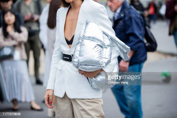 A guest is seen wearing silver bag outside Y/Project during Paris Fashion Week Womenswear Spring Summer 2020 on September 26 2019 in Paris France