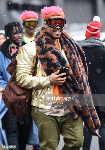 A guest is seen wearing ski goggles and a gold jacket outside of the Robert Geller show during New York Fashion Week Men's AW17 on January 31 2017 in...