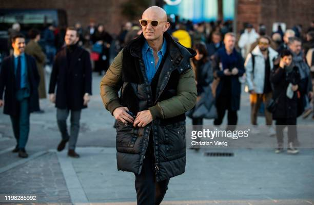 Guest is seen wearing vest during Pitti Uomo 97 at Fortezza Da Basso on January 08, 2020 in Florence, Italy.