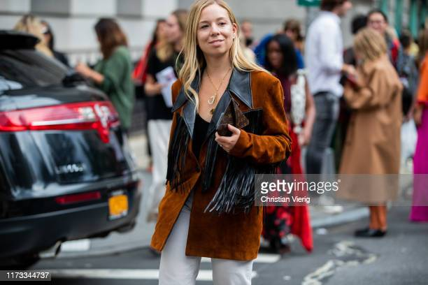 A guest is seen wearing vest with fringes outside Sies Marjan during New York Fashion Week September 2019 on September 08 2019 in New York City