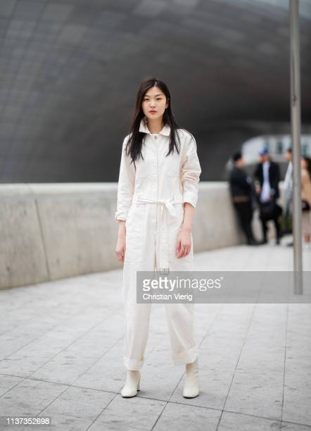 A guest is seen wearing white overall at the Hera Seoul Fashion Week 2019 F/W at Dongdaemun Design Plaza at Dongdaemun Design Plaza on March 21 2019...