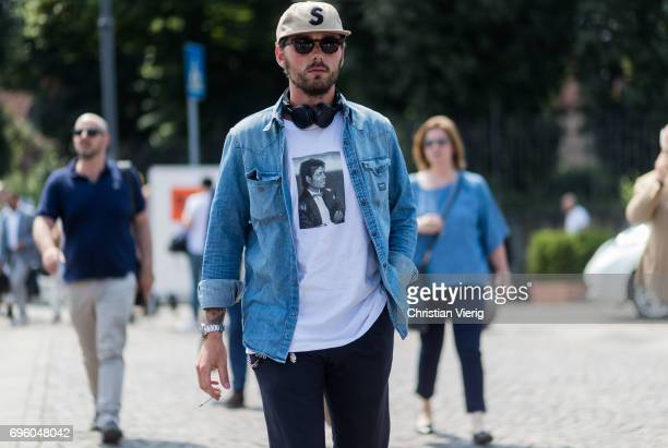 Guest is wearing a denim shirt is seen during Pitti Immagine Uomo 92. At Fortezza Da Basso on June 14, 2017 in Florence, Italy.