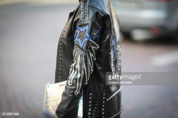 A guest is wearing a Diesel coat after the Roland Mouret show during Paris Fashion Week Womenswear Fall Winter 2016/2017 on March 6 2016 in Paris...