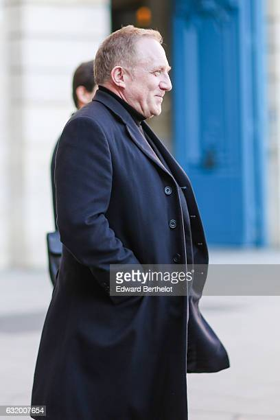 A guest is wearing a long coat after the Balenciaga show during Paris Fashion Week Menswear Fall/Winter 2017/2018 at Place Vendome on January 18 2017...