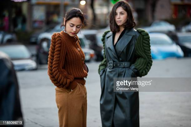 Guest is wearing brown knit and a guest wearing green leather coat with knitted sleeves seen during day 3 of the Mercedes-Benz Tbilisi Fashion Week...