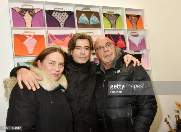 A guest Jean Baptiste Mondino and Alexandre Zouari attend the Dada Girl Marie Beltrami Exhibition Preview at Alfalibra Gallery on January 29 2019 in...