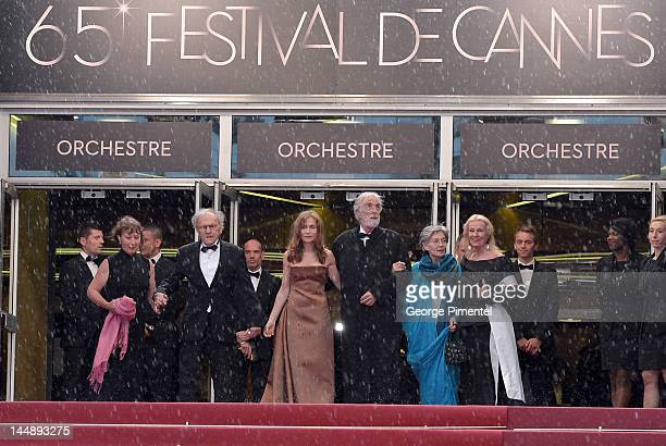 Guest JeanLouis Trintignant Isabelle Huppert director Michael Haneke Emmanuelle Riva and Susanne Haneke attend the 'Amour' Premiere during the 65th...