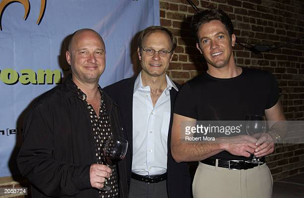 Guest Joel Quigly actor David Hyde Pierce and actor John Sabastioni attend a wine tasting and CD release party for Sonoma Uncorked narrated by David...